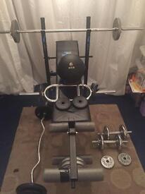York Bench Press with Bar Bell, Dumb Bells, EZ Curl Bar Bell, triceps bar, Weights, medicine ball!