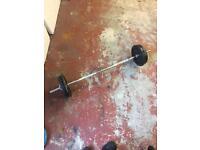 Weight training E-Z barbell cast iron weights