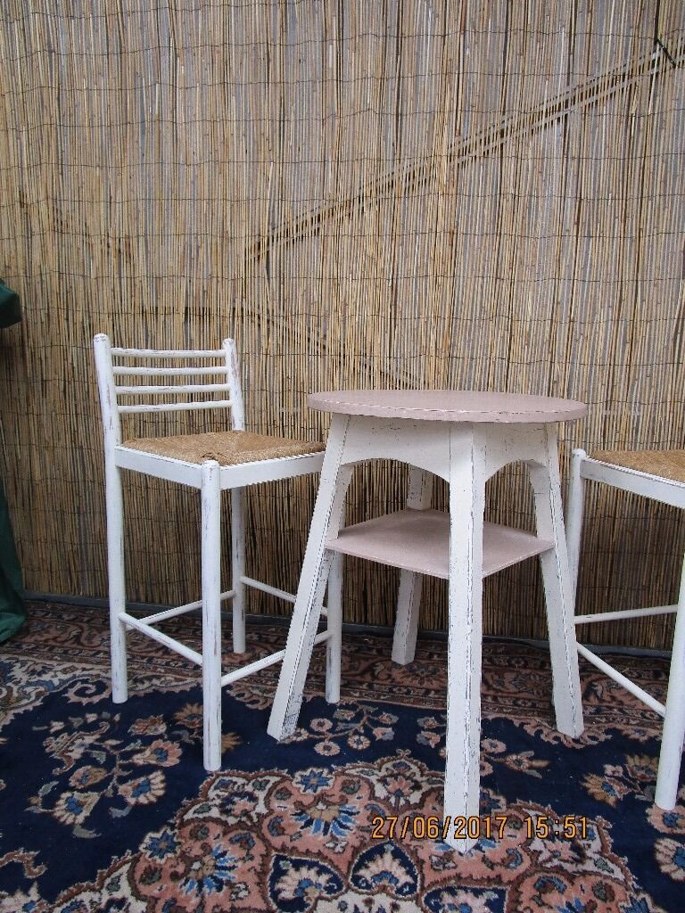 french shabby chic bar table & stools breakfast dining set kitchen