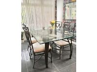 Wrought iron dining table & 4 chairs