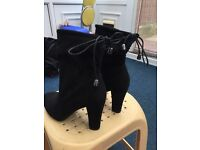 Black suede heeled boots (size 4)