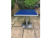 Bistro Table Blue Top Stainless Steel Base H30in/76cm W/D31in/79cm Good condition R194