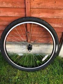 "Bike rear wheel 26"", b'twin tyre, with push on hub"