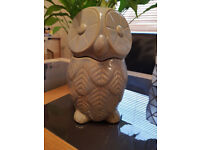 NEXT Home Embossed Owl Treat Biscuit Cookie Storage Jar NEW