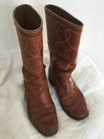 Mid-calf length tan leather vintage boots