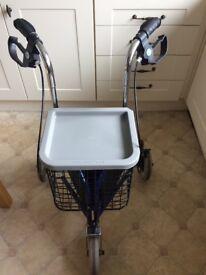 Wheeled walking frame with basket and storage pocket