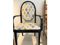 Lovely black satin framed armchair in yellow mustard and grey fabric