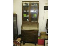 VINTAGE ORNATE BUREAU WITH DETACHABLE TOP GLAZED ORNATE BOOKCASE. VIEWING/DELIVERY AVAILABLE