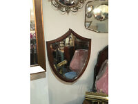 Great Looking Antique Shield Mahogany Frame Bevel Edge Wall Mirror Décor