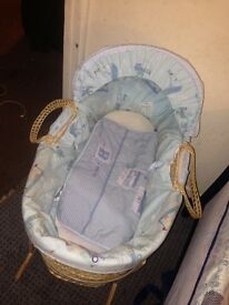Blue Clair de lune Moses basket with rocking stand