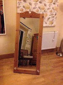 Antique pine finish large floor standing mirror