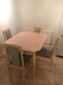 Wooden dining table with 4 chairs length 115 cm x 66 cm