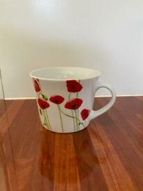 Extra large breakfast mug with poppies all around