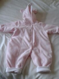 GIRLS PINK ALL IN ONE OUTDOOR SUIT, 7 1/2 LBS, 3.5 KG, VGC