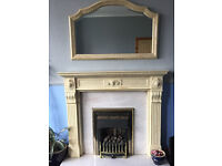Marblesque Mantle, Backpanel, Hearth and Matching Mirror