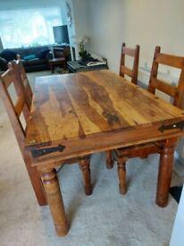 Jali Sheesham Hardwood Dining Table and 4 Chairs