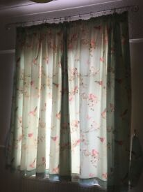 Dunhelm 'Beautiful Birds' Thermal pencil pleat curtains plus matching single duvet covers