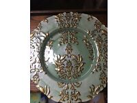 John Lewis Teal and Gold large glass table serving dish X4