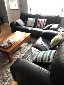 Black leather sofa set (in good condition)