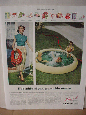 1949 B F Goodrich Rubber Portable River Ocean Kiddie Pool Vintage Print Ad 10155