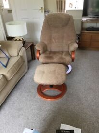 SWIVEL RECLINER CHAIR AND FOOTSTOOL