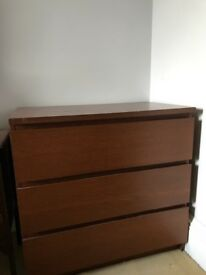Three drawers cabinet from IKEA dark oak color