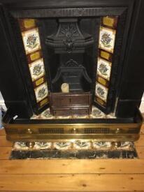 Antique Victorian Pierced Brass Fire Fender