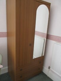 Large Teak style wardrobe with door mirror and 2 drawers