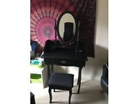 Black Classic Dressing/Make Up Table With Mirror And Stool Included