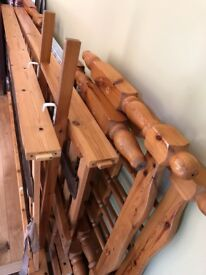 """Re-posted ad due to failed purchaser 2' 6"""" solid pine bunk bed frames - no mattresses"""