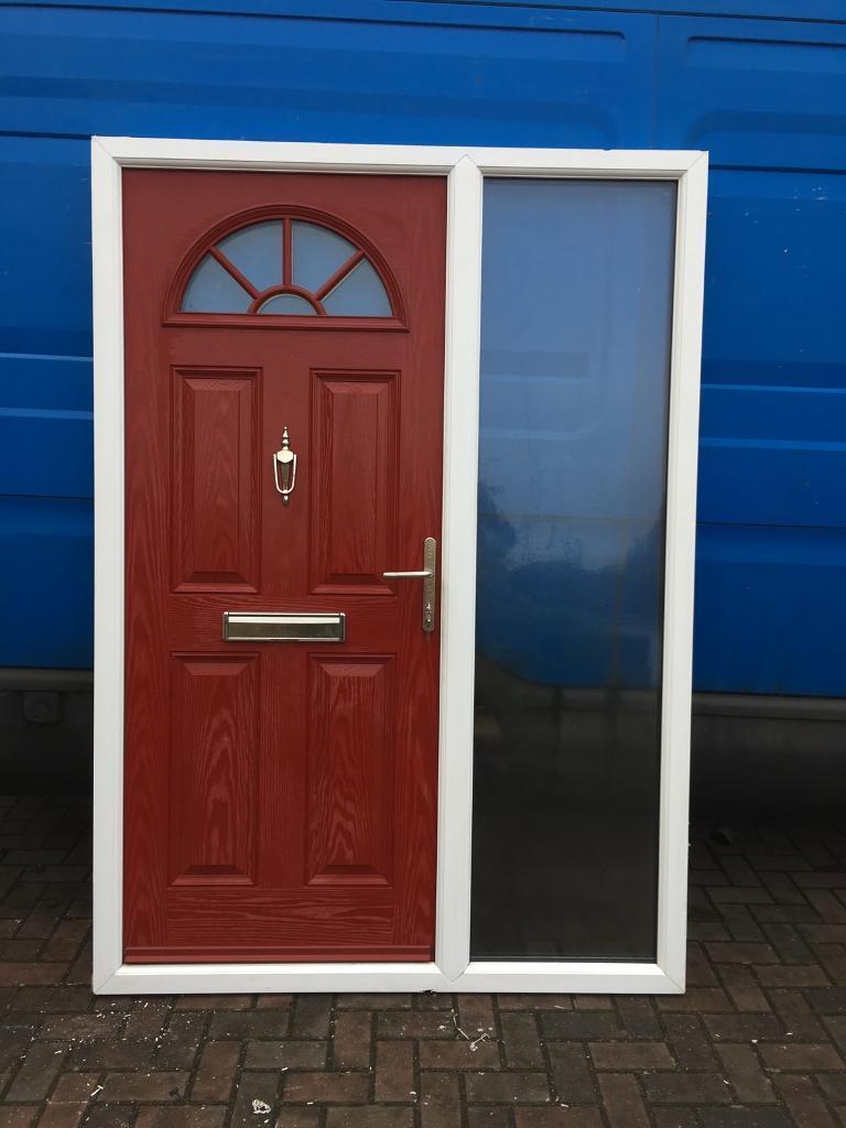 Used Upvc Red Composite Front Door Combi In Whetstone
