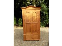 Solid Pine 2 Door Wardrobe With Drawer