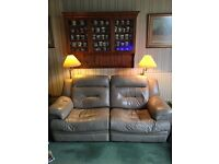 Electric reclining sofa 2 seater, faun leather, excellent condition. FREE to collect
