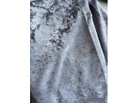 Silver crushed velvet curtains 46 x54 (new)