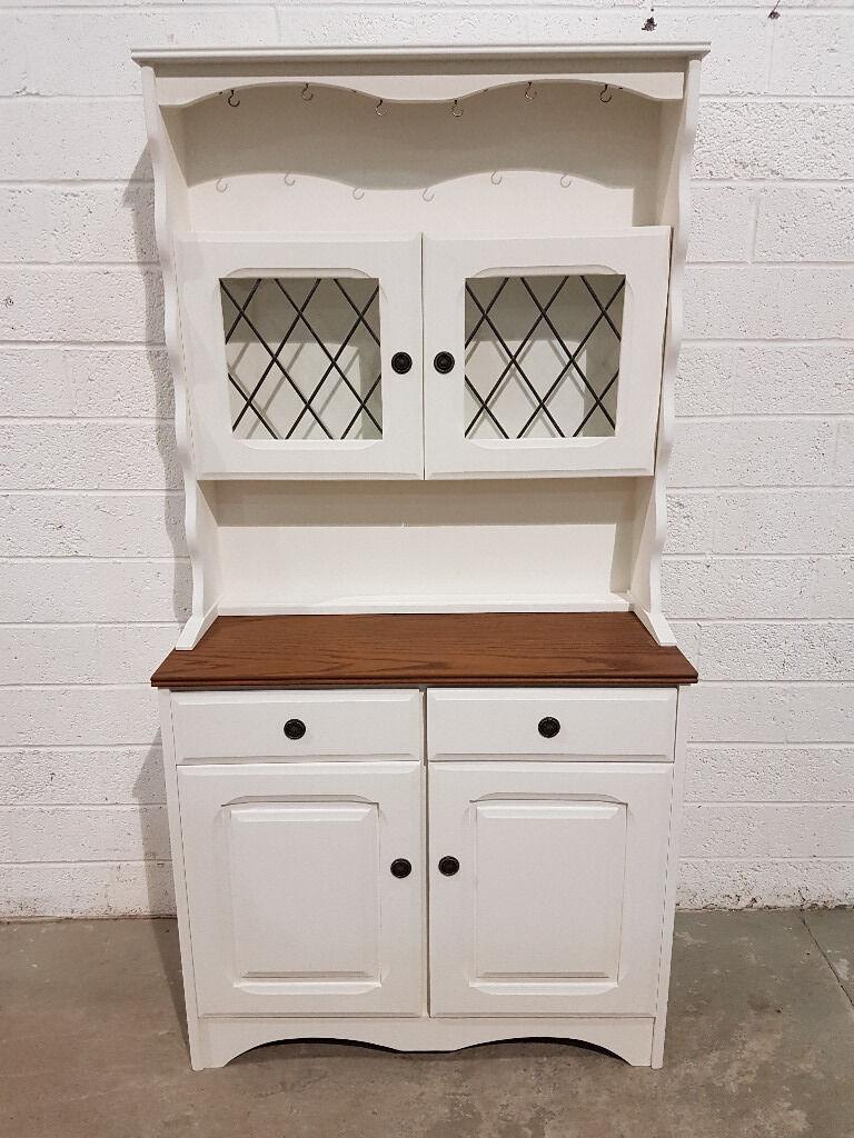 Shabby Chic 2 Piece Welsh Dresser In Rustoleum Chalk White Paint 1047
