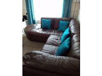 Brown Leather Corner Sofa