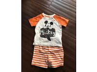 3-6 month Mickey Mouse shorts and t-shirt set