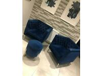 Navy Chesterfield Style Armchairs and footstool