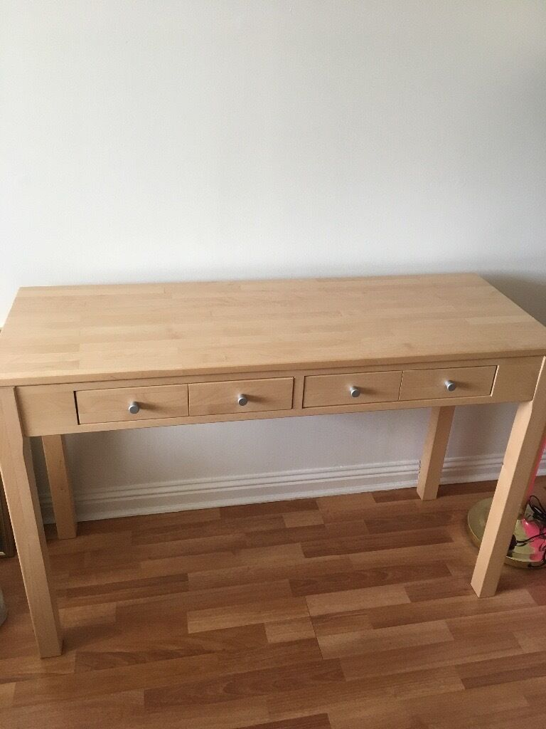 Maple Console Table And Matching Side Table