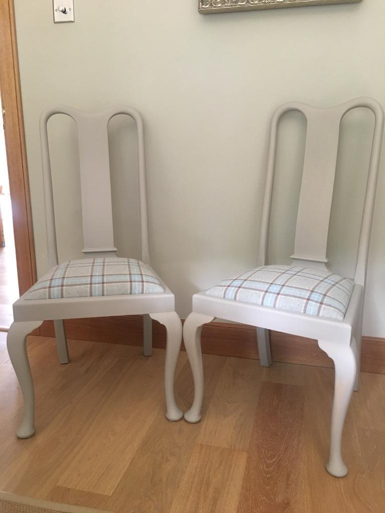 ****REDUCED***set Of 4 Pale French Grey Solid Wood