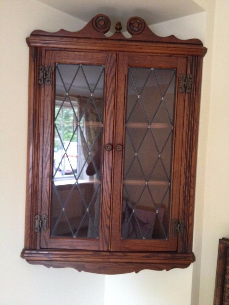 Oak Corner Wall Cabinet With Glass Front By Old Charm