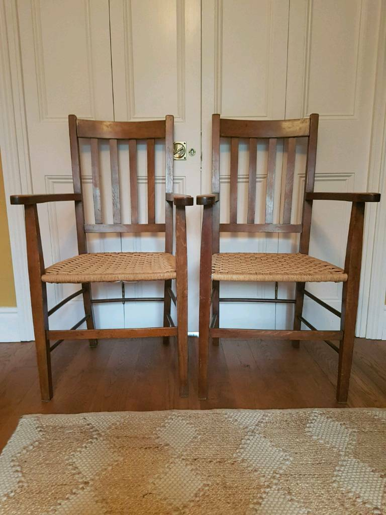 Beau Pair Of Beautiful Wooden Carver Chairs