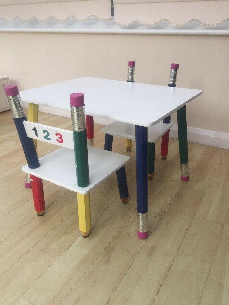 Kids Pencil Table U0026 2 Chairs