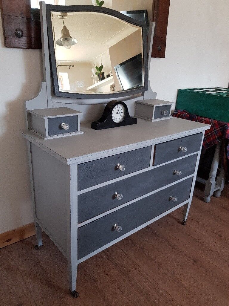 Large Shabby Chic Vintage Dressing Table/chest Of Drawers/mirror. Rustic  Grey.