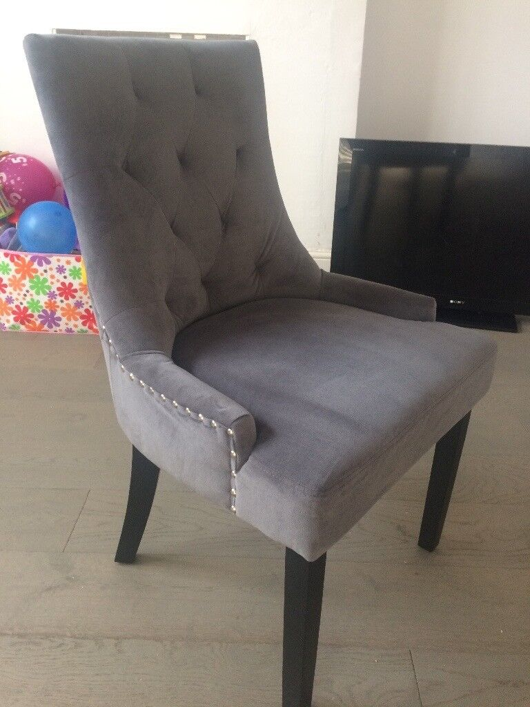 Grey Upholstered Dining Chair With Back Ring 3x