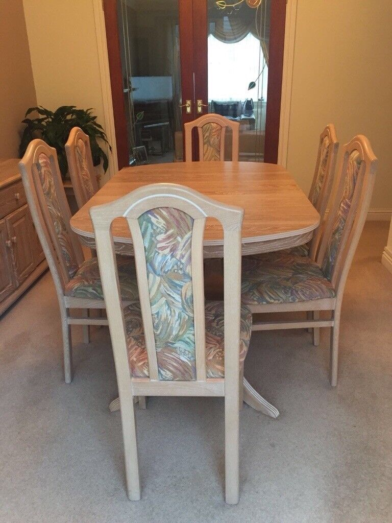 Limed Oak Dining Table And 6 Chairs *REDUCED*
