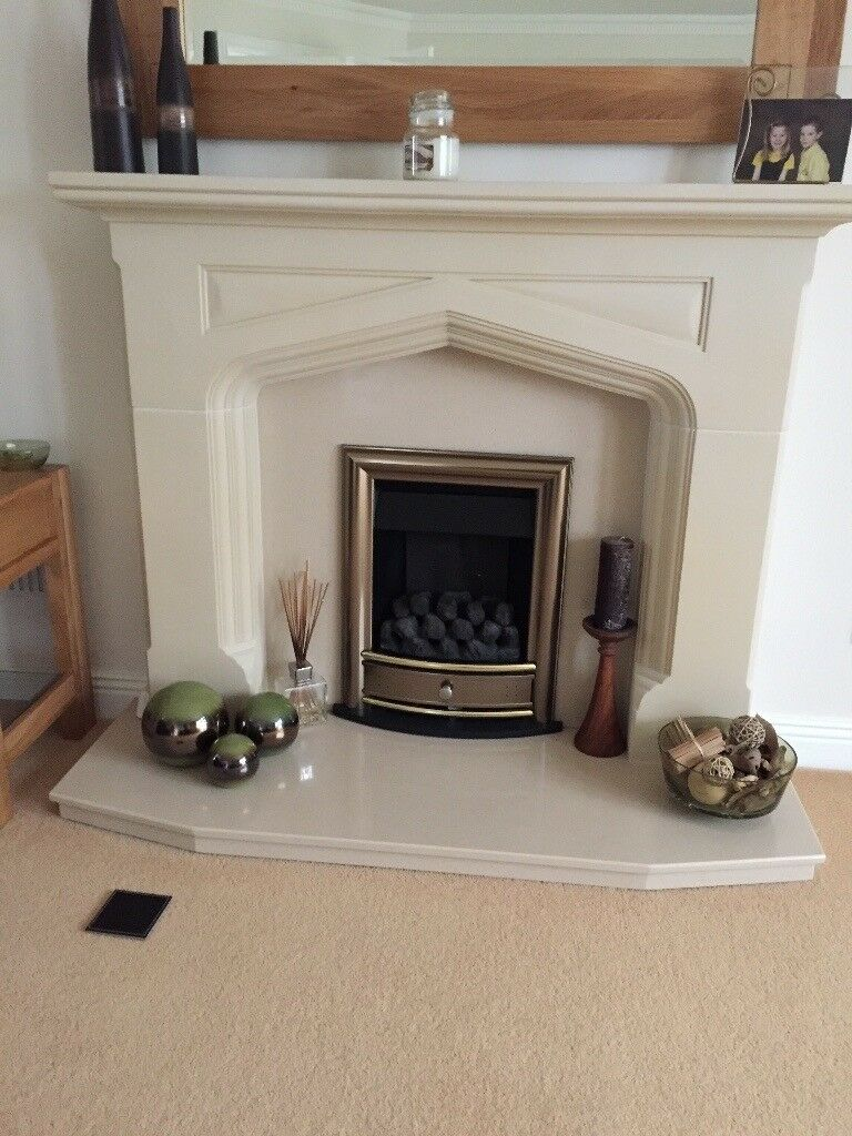 Stone Effect Fireplace Surrounds Part - 22: Stone Effect Fire Surround With A Marble Hearth And Gas Fire