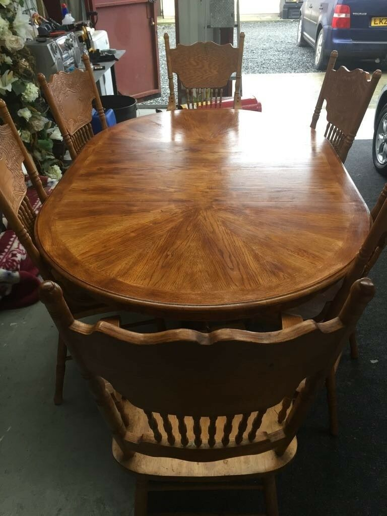 large kitchen table with 6 chairs freshly re
