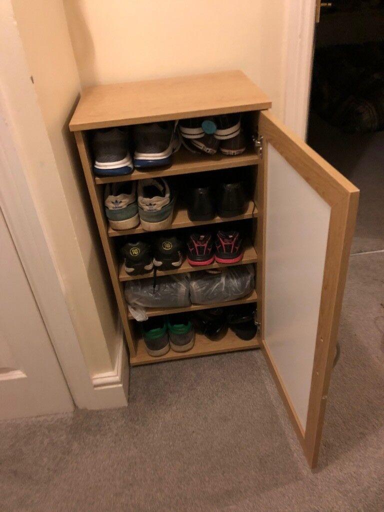 Oak Effect Shoe Storage Cabinet