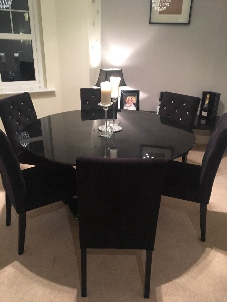 6 Seater Black Glass Dining Table And 6 Next Black Velvet Rhinestone  Diamond Dining Chairs